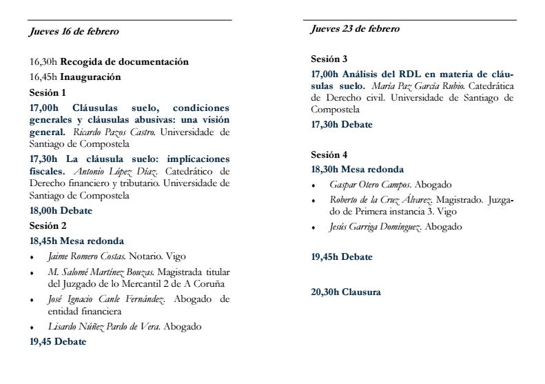 programa jornadas clausulas suelo santiago compostela usc